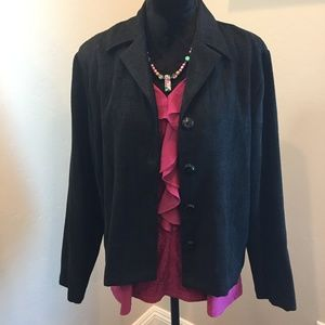 Jet Black Button Up Short Blazer